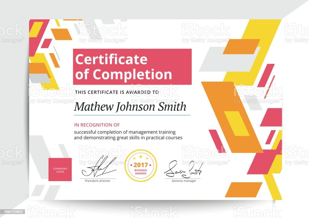 Certificate Of Completion Template In Modern Design Business Di