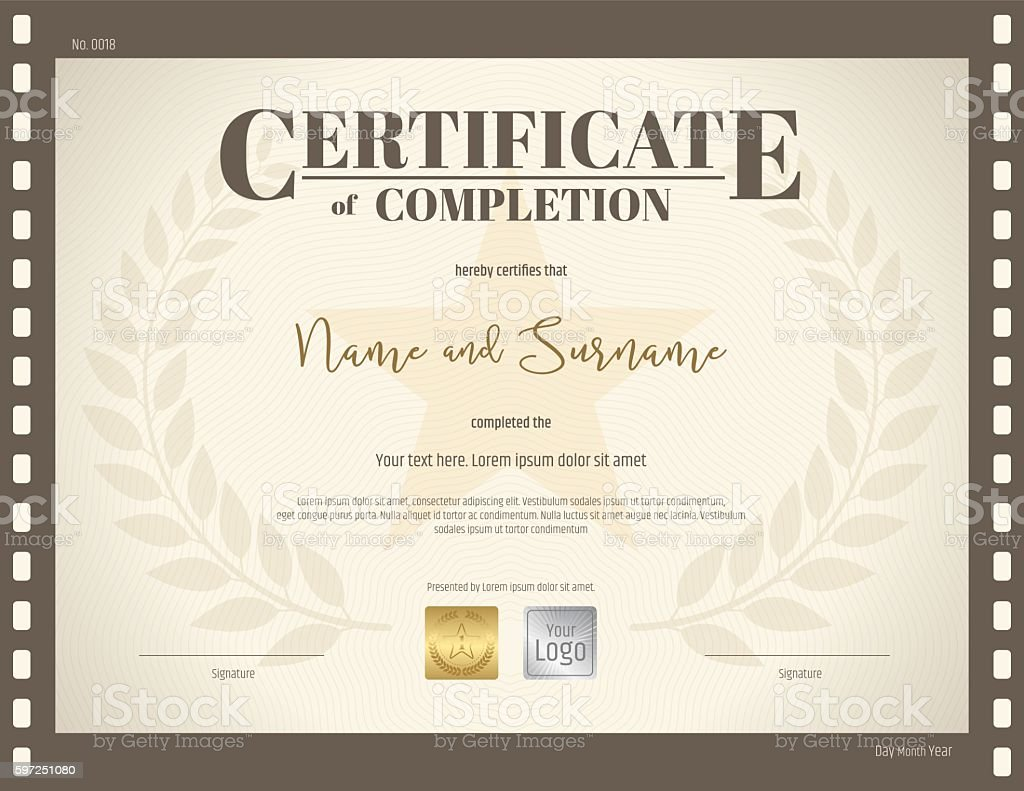 Certificate of completion template in movie film theme stock certificate of completion template in movie film theme royalty free stock vector art xflitez Gallery