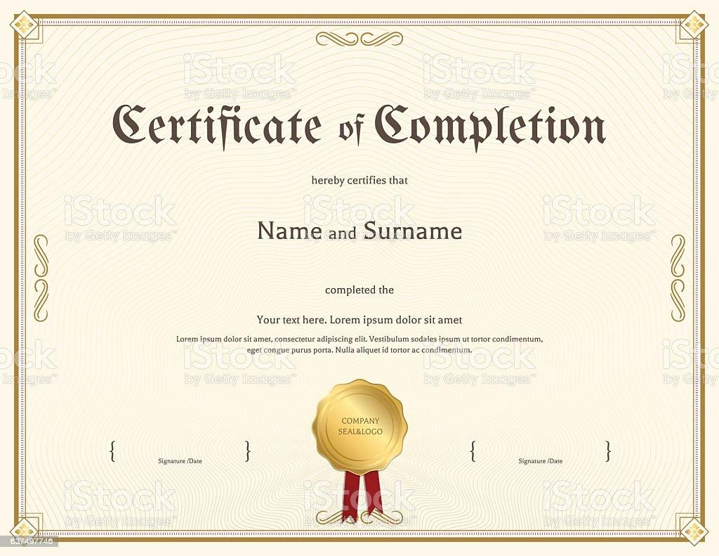 Certificate Of Completion Template In Vintage Theme Stock ...