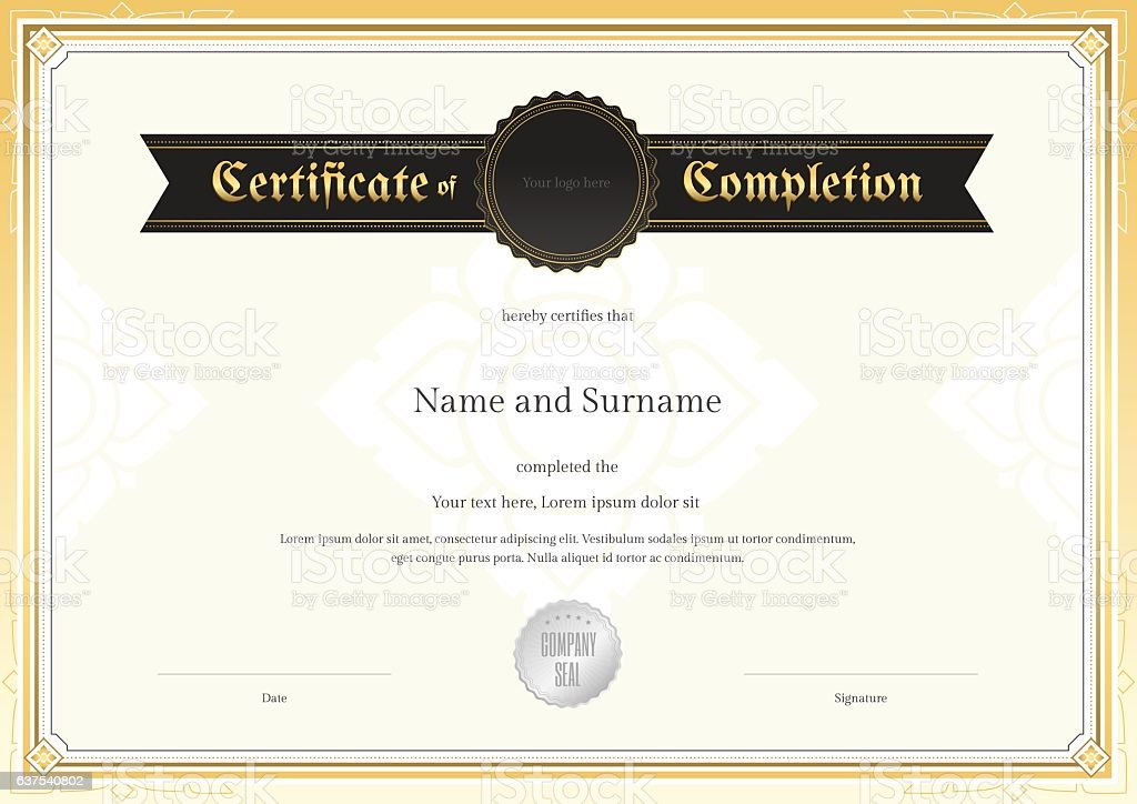 Certificate Of Completion Template With Applied Thai Art Background ...