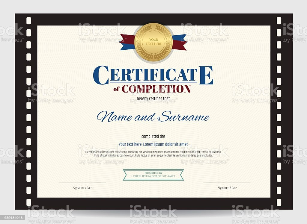 certificate of completion template with movie film border stock