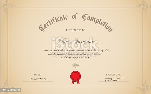 istock Certificate Of Completion 1217789203