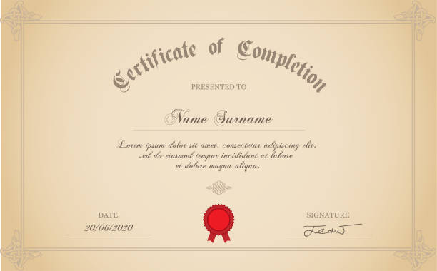 Certificate Of Completion Certificate of completion template with rubber stamp. certificates and diplomas stock illustrations