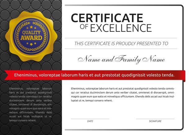 ilustraciones, imágenes clip art, dibujos animados e iconos de stock de certificado de excelencia clásico - marcos de certificados y premios