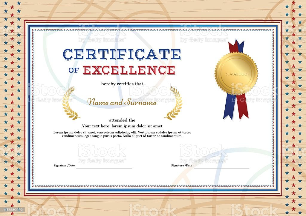 certificate of excellence template in sport theme for basketball royalty free certificate of excellence template - Free Certificate Of Excellence Template