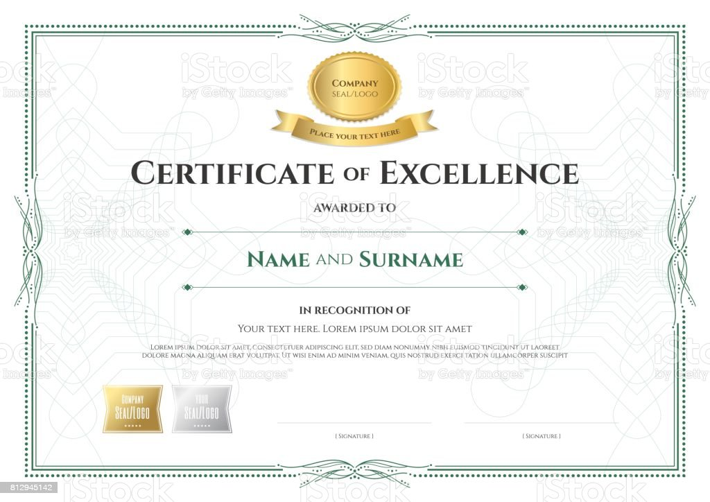 certificate of excellence template with award ribbon vintage border style royalty free certificate of excellence