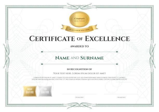 ilustrações, clipart, desenhos animados e ícones de certificado de modelo de excelência com o estilo de borda vintage de fita de prêmio - molduras de certificados e premiações