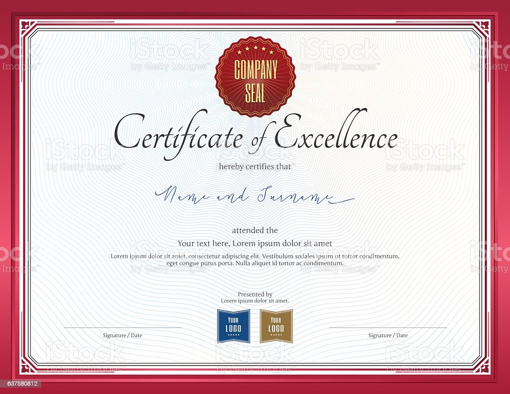 Certificate of excellence template with red border stock vector art certificate of excellence template with red border royalty free certificate of excellence template with red yadclub Gallery