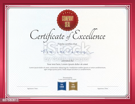 Certificate Of Excellence Template With Red Border Stock Vector Art
