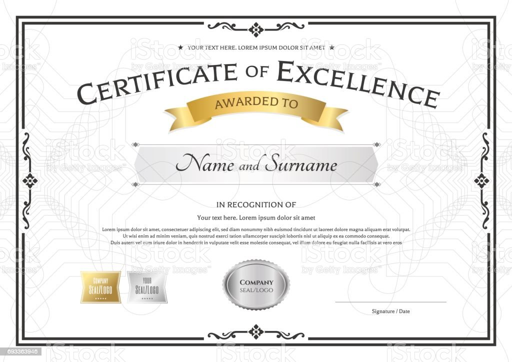 Certificate Of Excellence Template With Vintage Border Style Stock