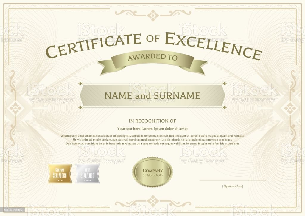 Certificate of excellence template with vintage border for Certificate of excellence template
