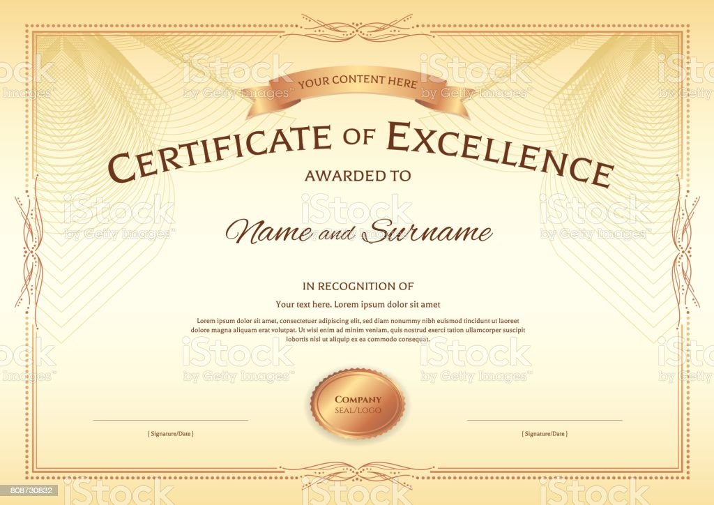 Certificate Of Excellence Template With Vintage Border Style Royalty Free  Stock Vector Art