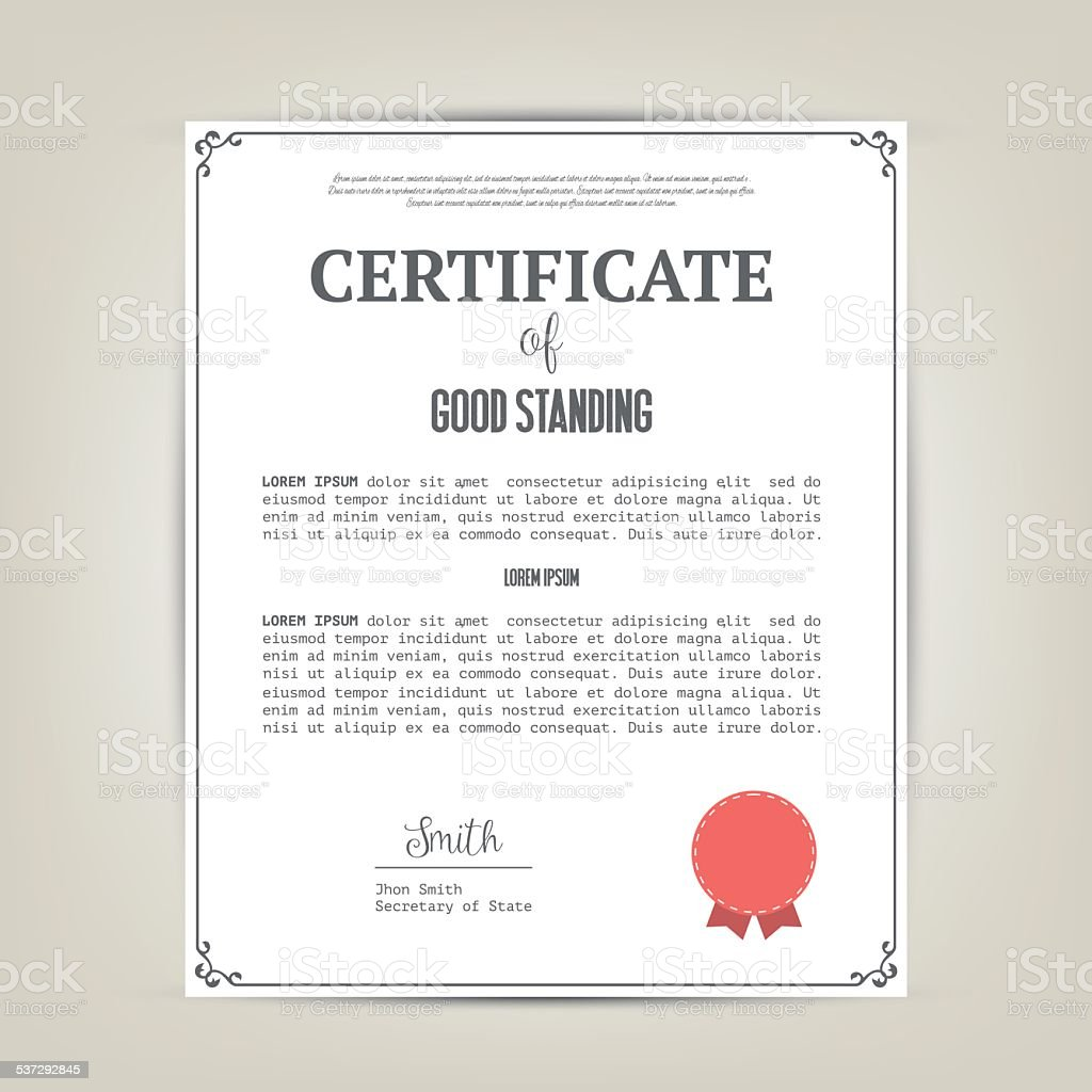 Certificate of good standing template stock vector art more certificate of good standing template royalty free certificate of good standing template stock vector art yadclub Image collections