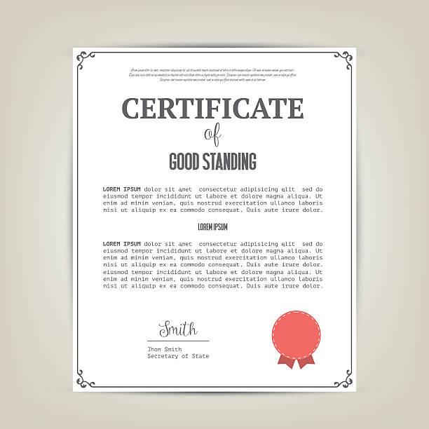 Certificate of good standing template Vector illustration. debenture stock illustrations