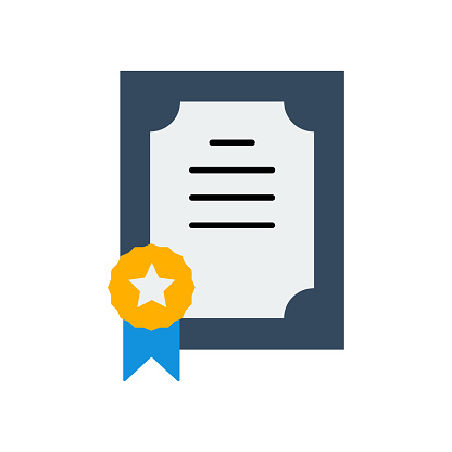 Certificate of Honor Flat Icon. Flat Design Vector Illustration