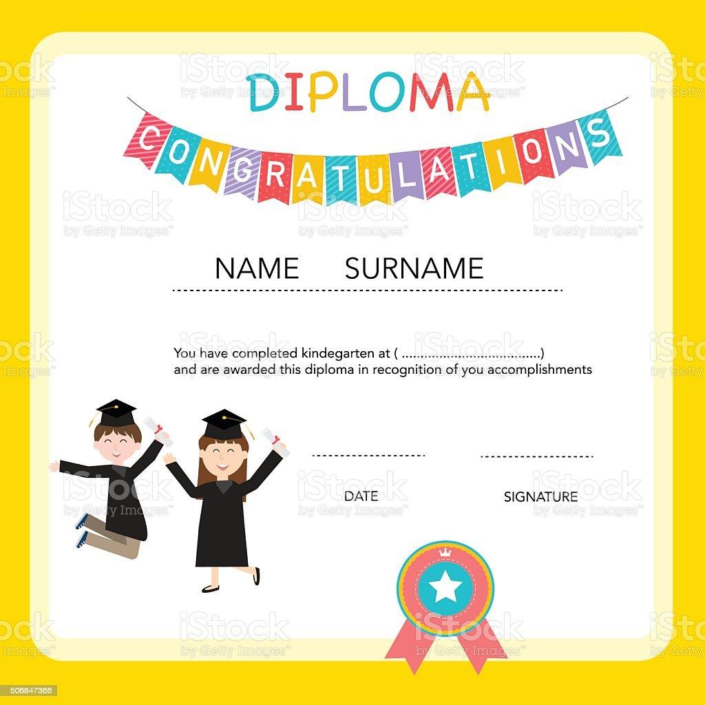 Zertifikat Für Kinder Diplom Kinder Bereits Im Kindergarten Vorlage ...