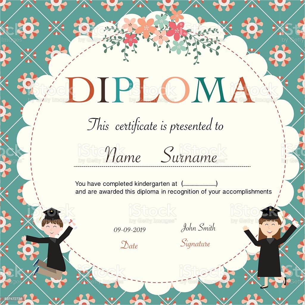 Certificate of kids diploma preschoolkindergarten template stock certificate of kids diploma preschoolkindergarten template royalty free stock vector art yelopaper Gallery