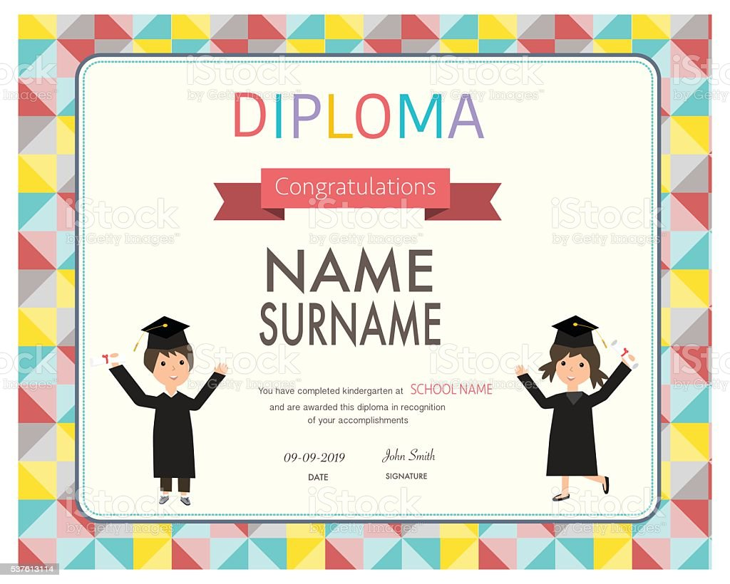 Certificate of kids diploma preschoolkindergarten template stock certificate of kids diploma preschoolkindergarten template royalty free certificate of kids diploma yelopaper Image collections