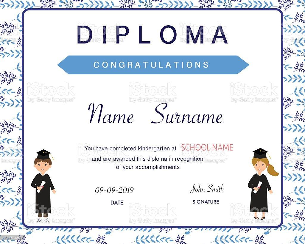 Certificate Of Kids Diploma Preschoolkindergarten Template Stock