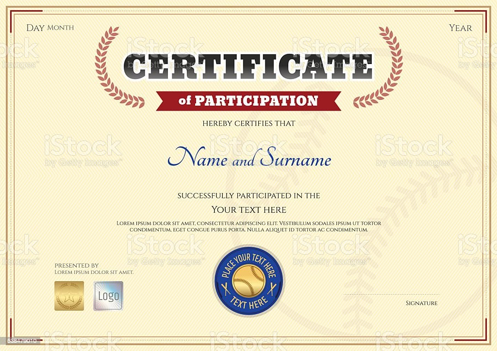 Certificate Of Participation Template In Baseball Sport Theme Stock