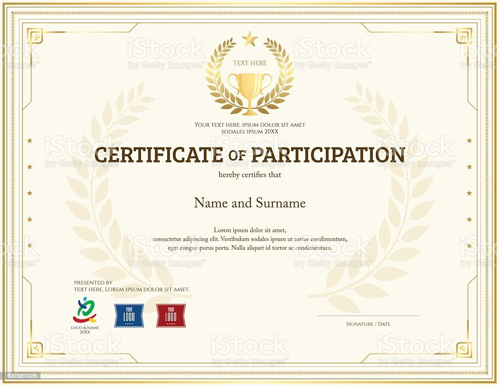 Certificate Of Participation Template In Gold Theme With Trophy  Royalty Free Certificate Of Participation Template  Certificate Of Participation Template