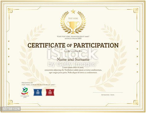 Certificate Of Participation Template In Gold Theme With ...