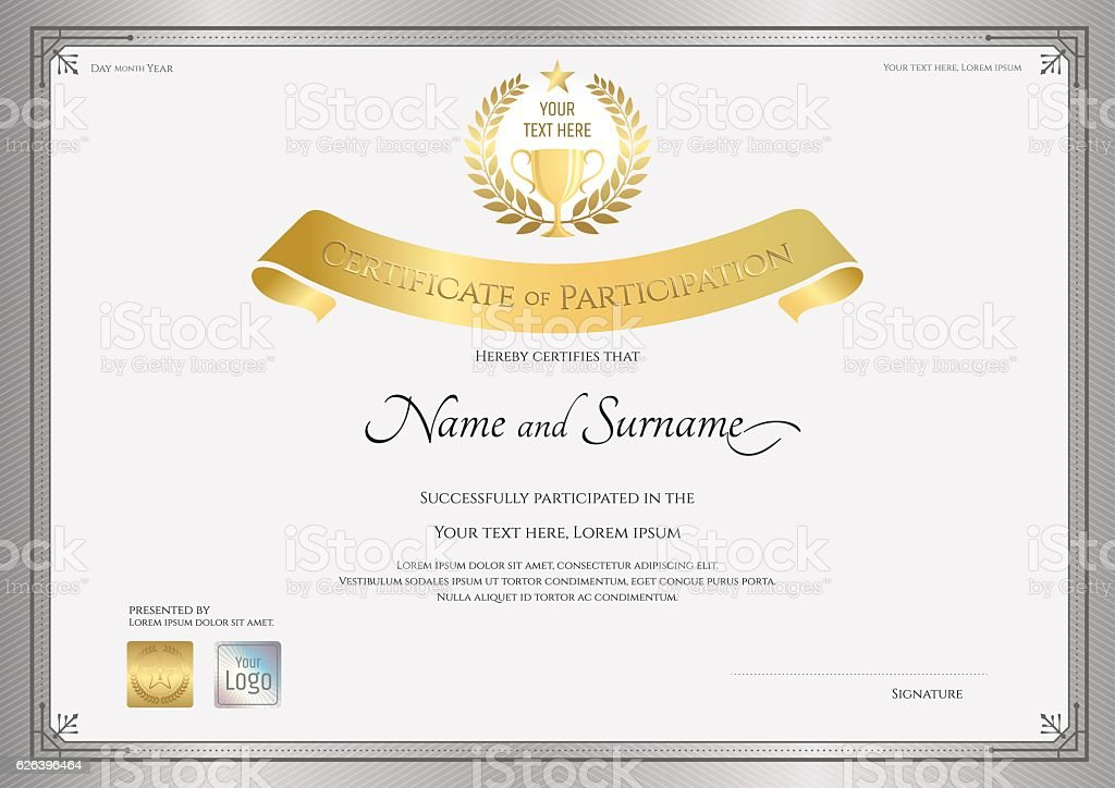 Certificate Of Participation Template In Silver Border Stock Vector Art U0026  More Images Of Achievement 626396464 | IStock  Design Of Certificate Of Participation