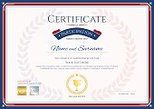 Certificate of participation template in sport theme with gold trophy seal on award wreath background