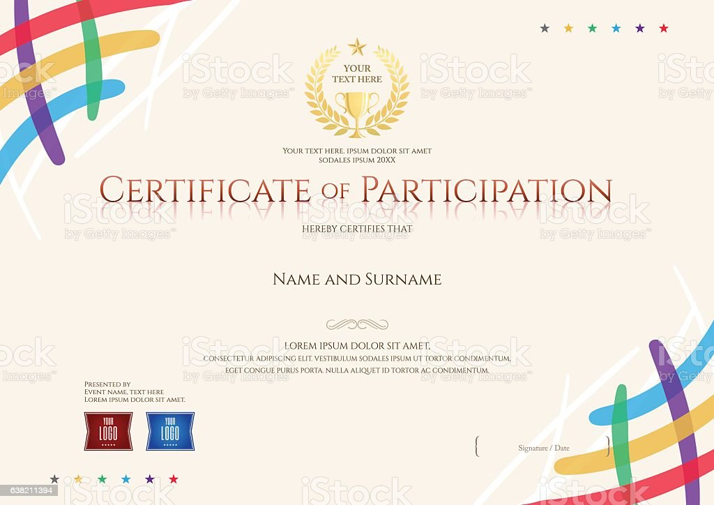 Certificate Of Participation Template With Colorful Corner And – Template for Certificate of Participation