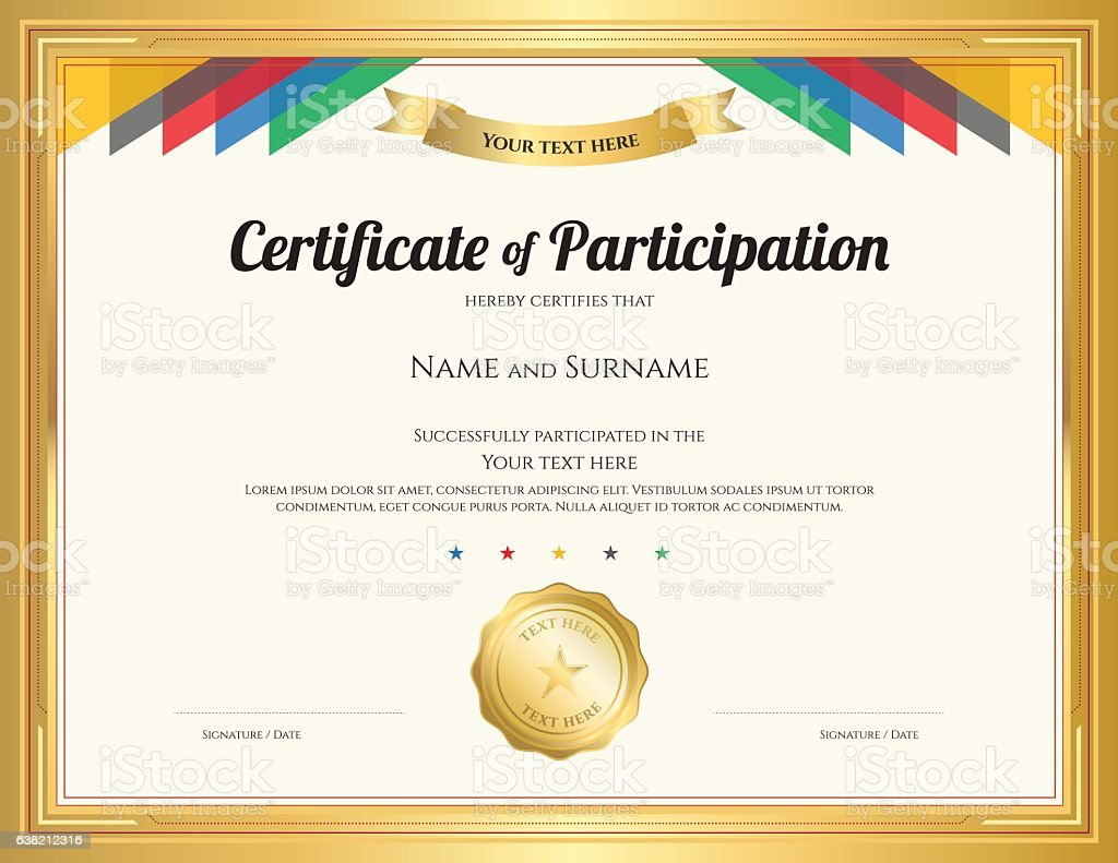 Certificate Of Participation Template With Gold Border And