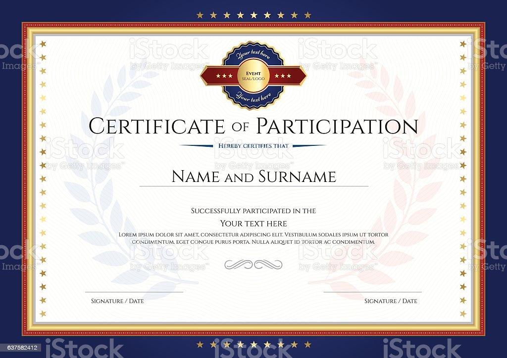 certificate of participation template with laurel. Black Bedroom Furniture Sets. Home Design Ideas