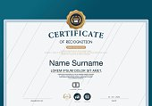 Certificate OF RECOGNITION frame design template