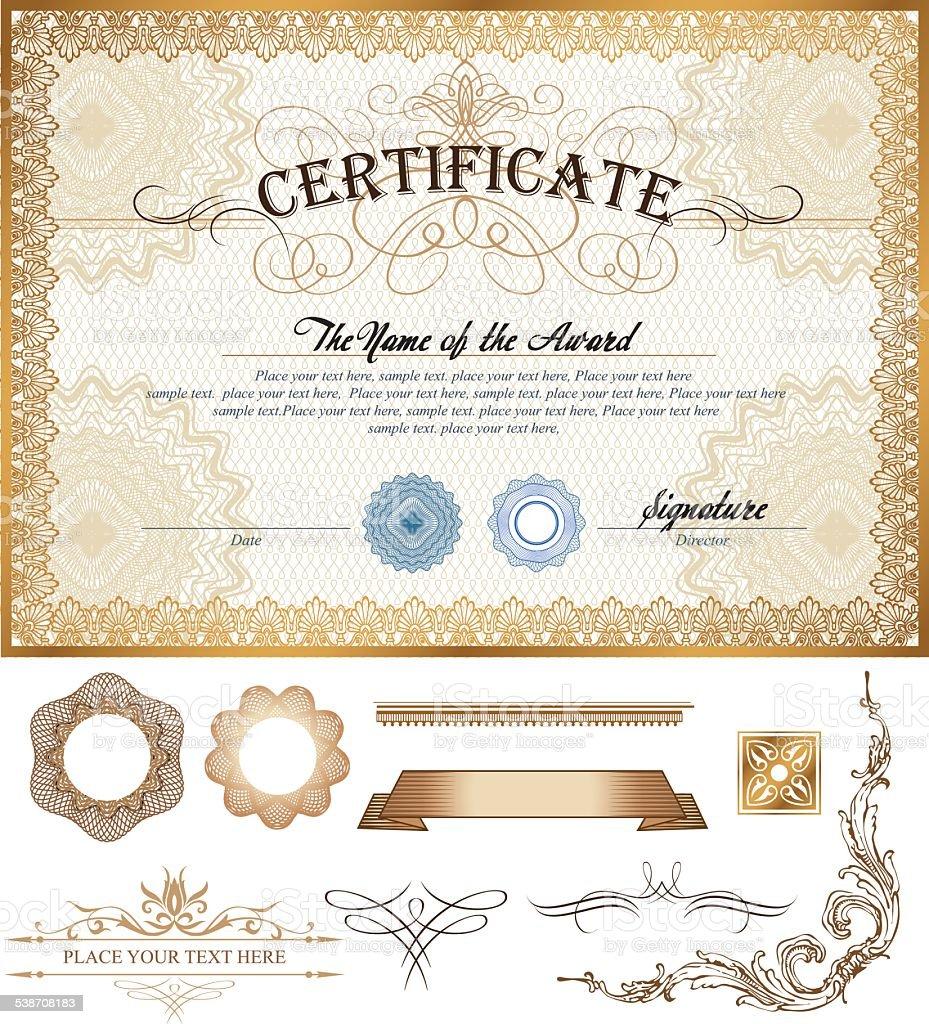 Oder Coupon Zertifikat Vorlage Mit Vintage Grenze Und Zusätzliche ...