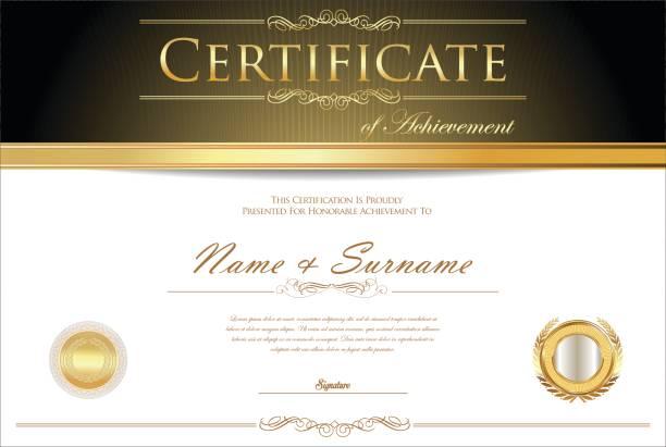 証明書または卒業証書のレトロなデザイン テンプレート - 証明書と表彰のフレーム点のイラスト素材/クリップアート素材/マンガ素材/アイコン素材