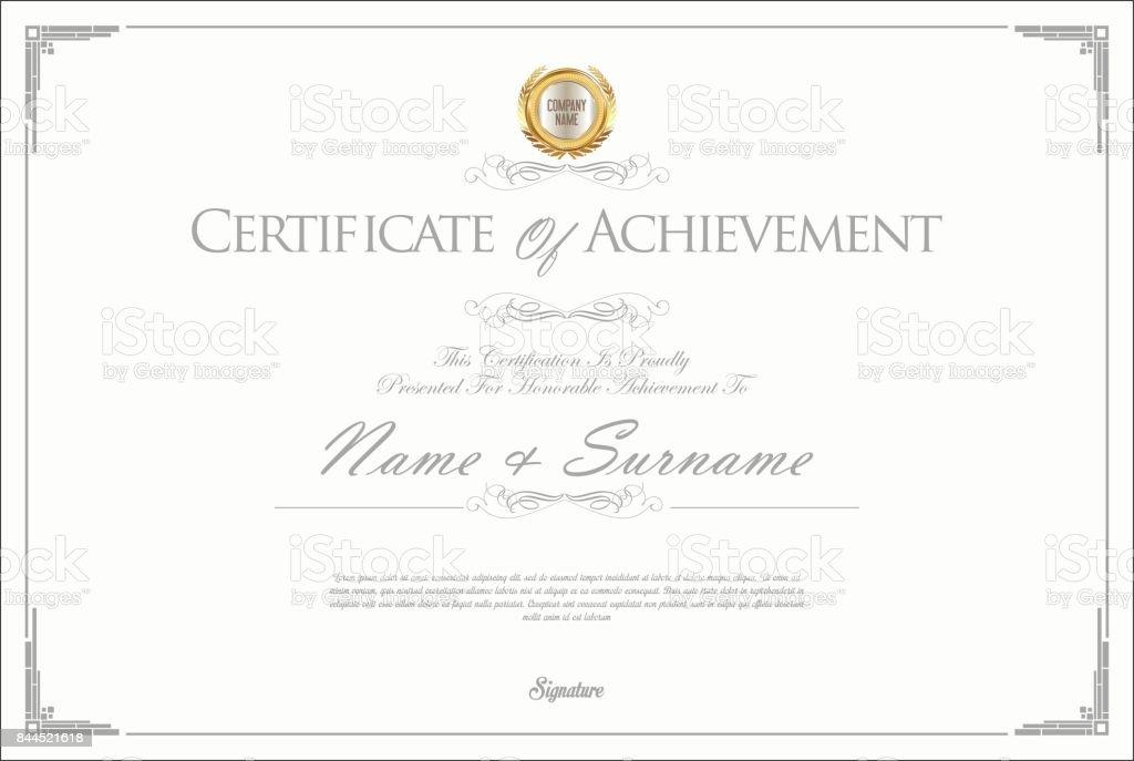 Certificate or diploma retro design vector art illustration