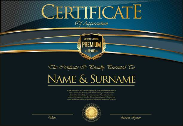 証明書または卒業証書のレトロなテンプレート - 証明書と表彰のフレーム点のイラスト素材/クリップアート素材/マンガ素材/アイコン素材