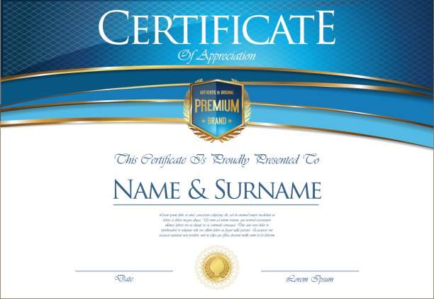 ilustrações, clipart, desenhos animados e ícones de certificado ou diploma modelo retrô - molduras de certificados e premiações