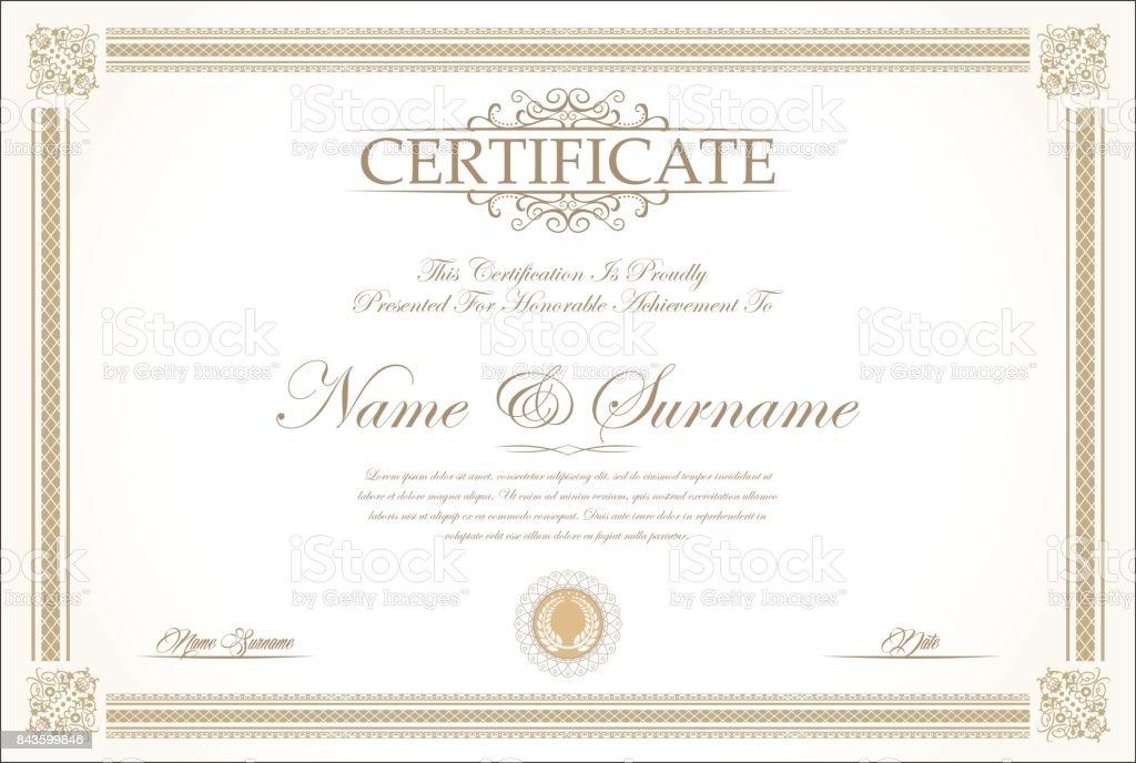 Certificate or diploma retro vintage background vector vector art illustration