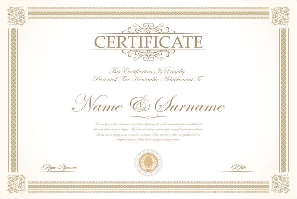 certificate or diploma retro vintage background vector - certificate and awards frames stock illustrations, clip art, cartoons, & icons