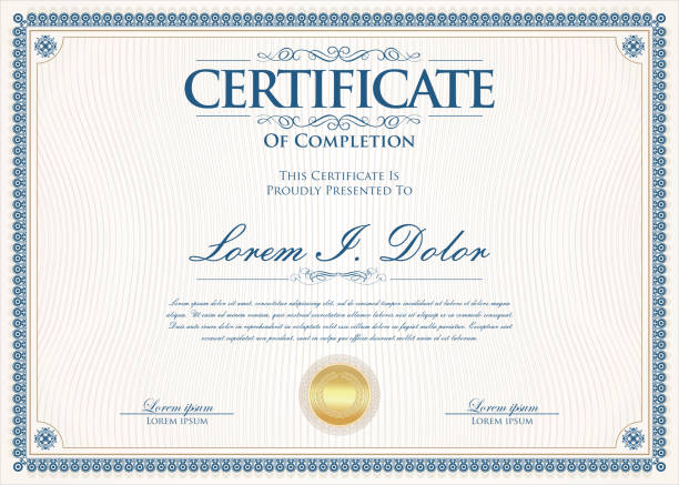 certificate or diploma retro vintage design template - сертификат stock illustrations