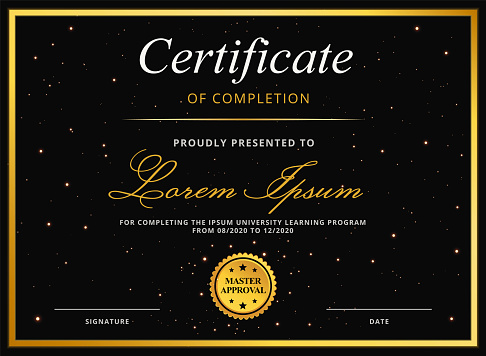 Certificate or Diploma Template for University Graduation or Online E-Learning Course Completion Award with Gold Border and Elegant Star Background