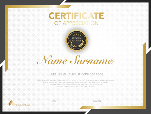 Certificate or Diploma template luxury modern style. Certificate or Diploma template luxury modern style. Vector illustration. business borders stock illustrations