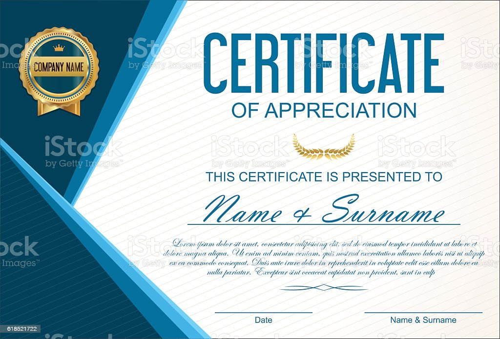 Certificate or diploma template vector art illustration