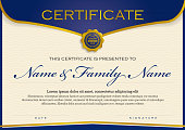 Vector Illustartion of a beautiful and modern Certificate Premium Templatewith golden and blue royal colors.