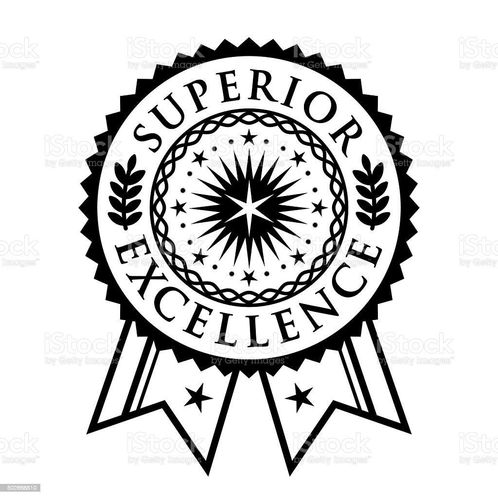 Certificate seal, emblem, superior excellence achievement vector art illustration