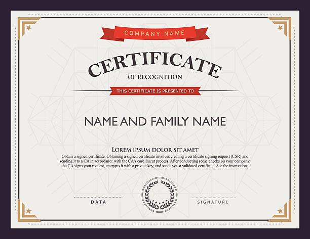 ilustraciones, imágenes clip art, dibujos animados e iconos de stock de certificado plantilla y elemento. - marcos de certificados y premios
