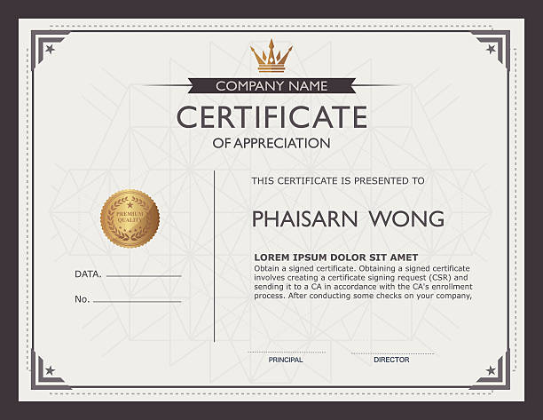 certificate template and element. certificate template and element. frame border stock illustrations