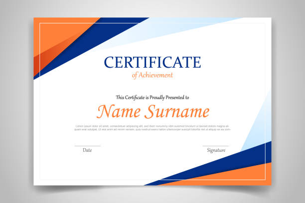 illustrazioni stock, clip art, cartoni animati e icone di tendenza di certificate template banner with polygonal geometric shape for print template with orange dark blue and white clean modern - vector - attestato
