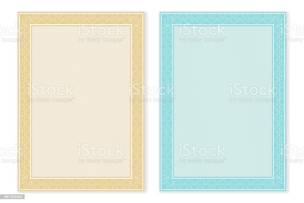 Certificate Template Blank Form With Decorative Border Stock Vector