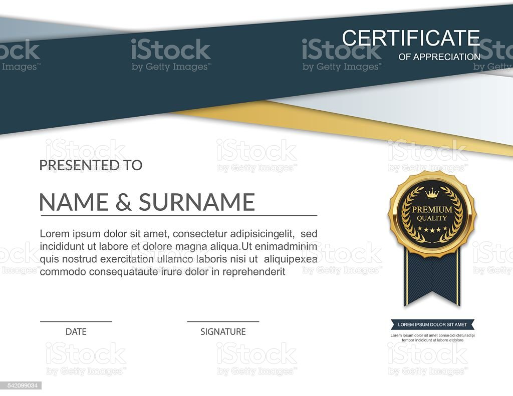 Certificate template certificate of appreciation vector stock vector certificate template certificate of appreciation vector royalty free certificate template certificate of appreciation yadclub Image collections